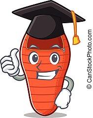 happy sleeping bag wearing a black Graduation hat