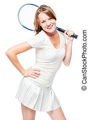 Happy slender tennis player portrait on white background