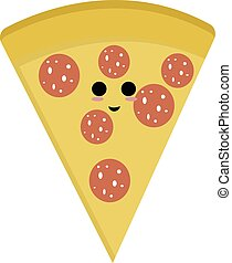 Happy slice of pizza, illustration, vector on white background.