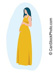 Happy slim fitted pregnant woman with a baby in her belly, pretty lady with love to her motherhood. Poster in hospital, maternity home, birthing center, Mother's Day card. Vector illustration.
