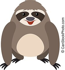 Happy sloth, illustration, vector on white background.