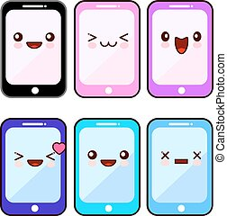 Happy smartphone cartoon character kawaii set. Mobile cell phone with happy face, device phone for communication. Flat design Vector