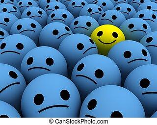 Bright yellow happy smile among set of the sad.