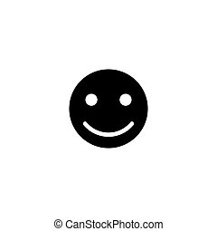 Happy Smile Face Flat Vector Icon