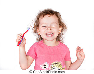 Happy smile girl with toothbrush