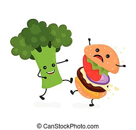 Happy smile strong broccoli kick burger, hamburger. Vector modern flat style cartoon character illustration icon design. Isolated on white background. Healthy food against unhealthy fast food. Nutrition