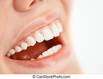 Happy smile - Toothy smile of a young woman