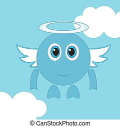 Happy Smile with wings. Vector
