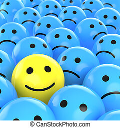 a yellow happy smiley between many blue sad others as concept for unique, optimistic, positive, etc.