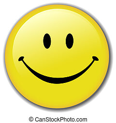 Happy Smiley Face Button Badge - A Happy Smiley Face Button,...