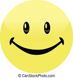 Happy Smiley Face Button Badge