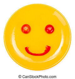 Happy smiley face made on plate