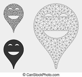Happy Smiley Map Marker Vector Mesh Carcass Model and Triangle Mosaic Icon