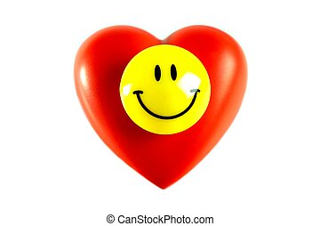 Happy Smiley on heart, on white background