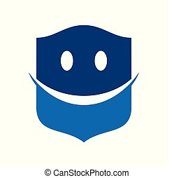 Happy Smiley Protection Blue Modern Shield Symbol Logo Design