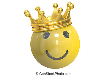 happy smiley with crown, 3D rendering
