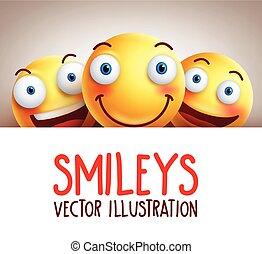 Happy smileys funny vector background