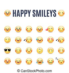 Happy smileys vector icon set. Emoticons pictograms collection. Happy round yellow smileys. Large collection of smiles