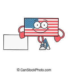 Happy smiling american flag cartoon character