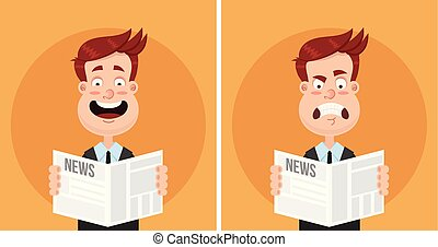 Happy smiling and sad disappointed frustrated angry expression face man businessman manager office worker character reading newspaper text article. Daily news tabloid concept. Positive and negative emotions. Vector flat cartoon isolated illustration set