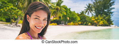 Happy smiling Asian woman relaxing on sun beach paradise, summer vacation background banner panorama