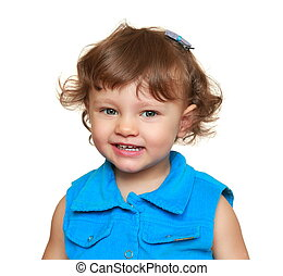Happy smiling baby girl looking. Closeup isolated portrait