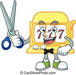 Happy smiling barber golden slot machine mascot design style