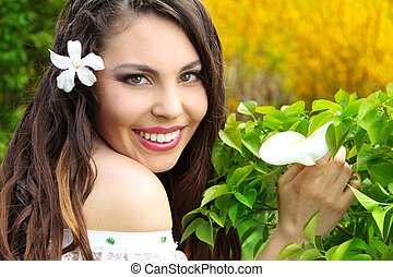 Happy smiling beautiful girl, natural outdoors portrait