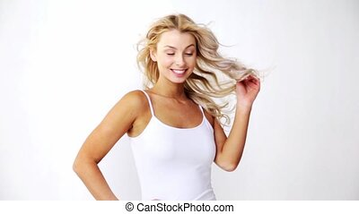 happy smiling beautiful young woman in white top - people...