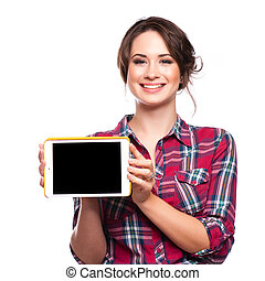 Happy smiling beautiful young woman showing blank tablet pc for copyspace, isolated over white background
