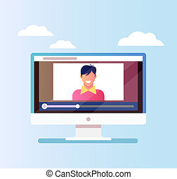 Happy smiling blogger man character discussion with followers by pc monitor by internet. Online tutorial blog concept. Vector flat cartoon graphic design illustration isolated icon