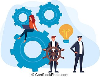 Happy smiling boss lead his team office workers. Teamwork business management concept. Vector flat graphic design cartoon illustration