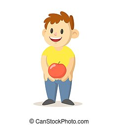 Happy smiling boy holding a big red apple, cartoon character design. Flat vector illustration, isolated on white background.