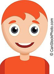 Happy smiling boy icon. Cartoon of happy smiling boy vector icon for web design isolated on white background