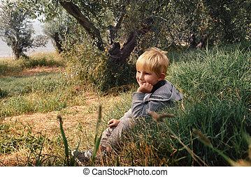 Happy smiling boy outdoor