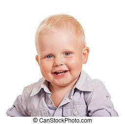 Happy smiling boy. Portrait isolated on white