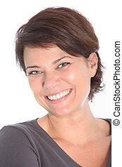 Happy smiling brunette woman