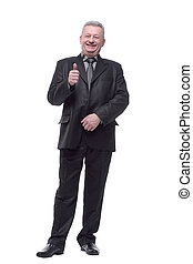 Happy smiling business man with thumbs up