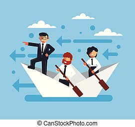 Happy smiling business people office worker characters floating boat sea waves. Teamwork start up new project successful business concept. Vector flat cartoon graphic design isolated illustration