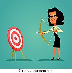 Happy smiling business woman character shoots bow at the target. Vector flat cartoon illustration