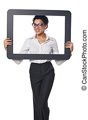 Happy smiling business woman looking through frame, over...