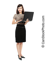 smiling business woman with laptop