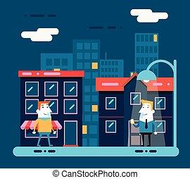 Happy smiling businessman cartoon character walk at night city street background flat design vector illustration