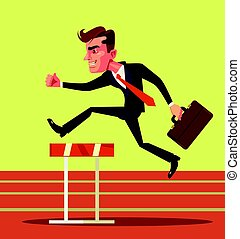 Happy smiling businessman character jumping over hurdle obstacles. Business success. Vector flat cartoon illustration