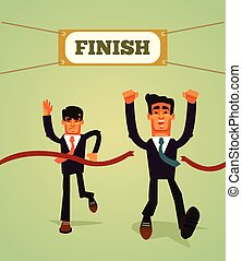 Happy smiling businessman office worker manager entrepreneur character crossing finish line. Achievement business career motivation competition marathon goal concept. Vector flat cartoon illustration