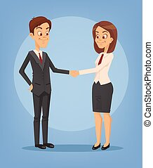 Happy smiling businesswoman and businessman characters shaking hands. Successful deal. Vector flat cartoon illustration