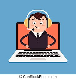 Happy smiling call canter manager help. Vector flat isolated...