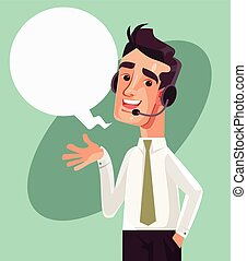 Happy smiling call center operator character. Vector cartoon illustration