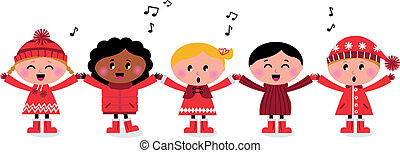 Cute little kids holding hands and singing isolated on white. Vector cartoon