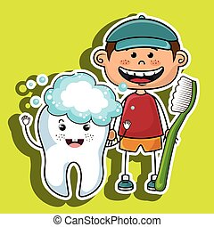 happy smiling cartoon boy wth a tootbrush and a big tooth